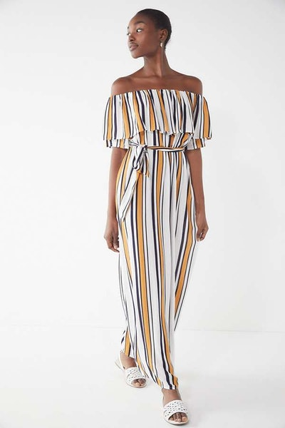 UO Striped Off-The-Shoulder Maxi Dress