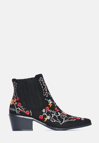 Black Floral Embroidered Western Boots
