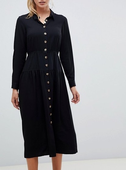 Button Through Midi Shirt Dress With Long Sleeves