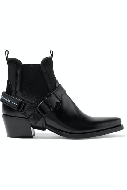 Leather and Neoprene Ankle Boots
