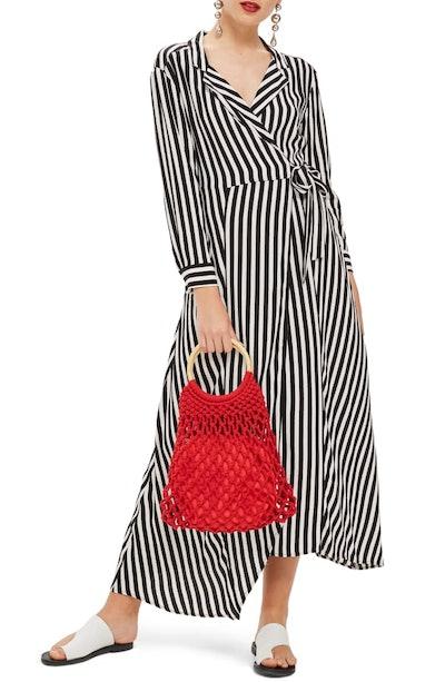 Stripe Wrap Midi Shirtdress