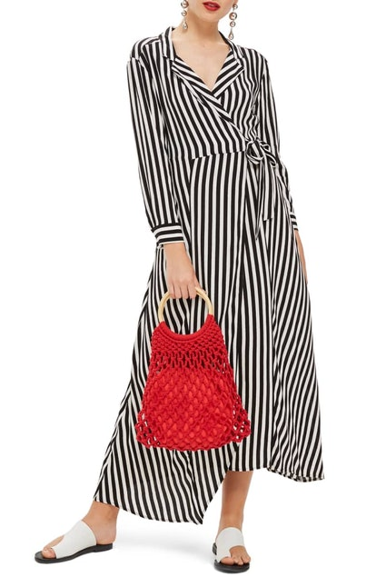 Stripe Wrap Midi Shirtdress