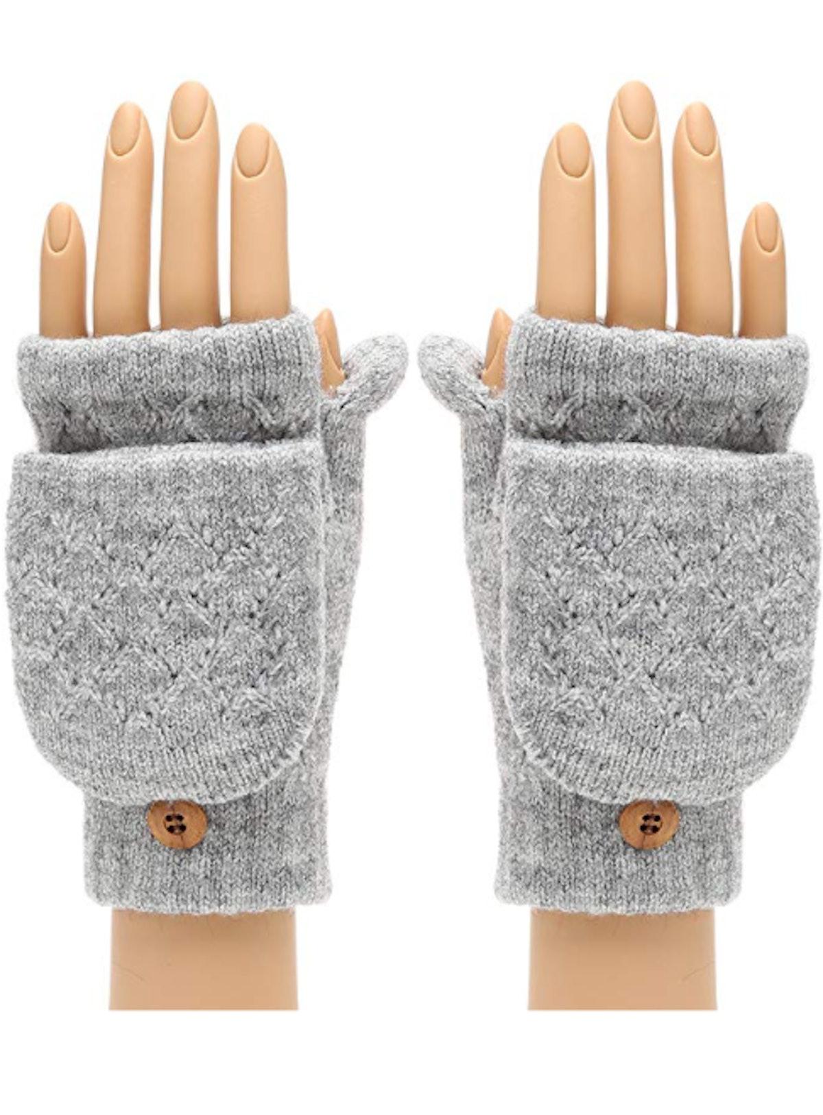 MIRMARU Women's Knitted Fingerless Flip Gloves