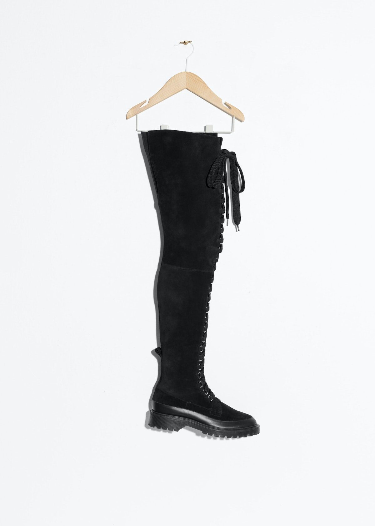 Suede Lace-Up Over Knee Boot