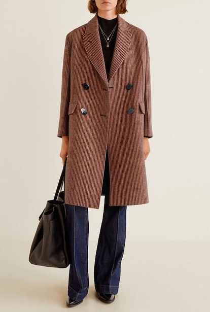 Doubled-Breasted Check Coat