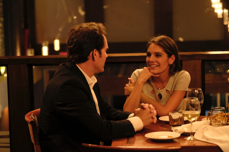 Caitlin Stasey as Julia Law and Jason Patric as A. Charles Peruto in Lifetimes' 'The Girl in the Bat...