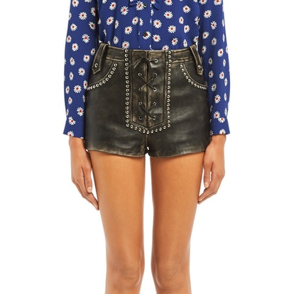 Vintage Leather Shorts With Metal Studs