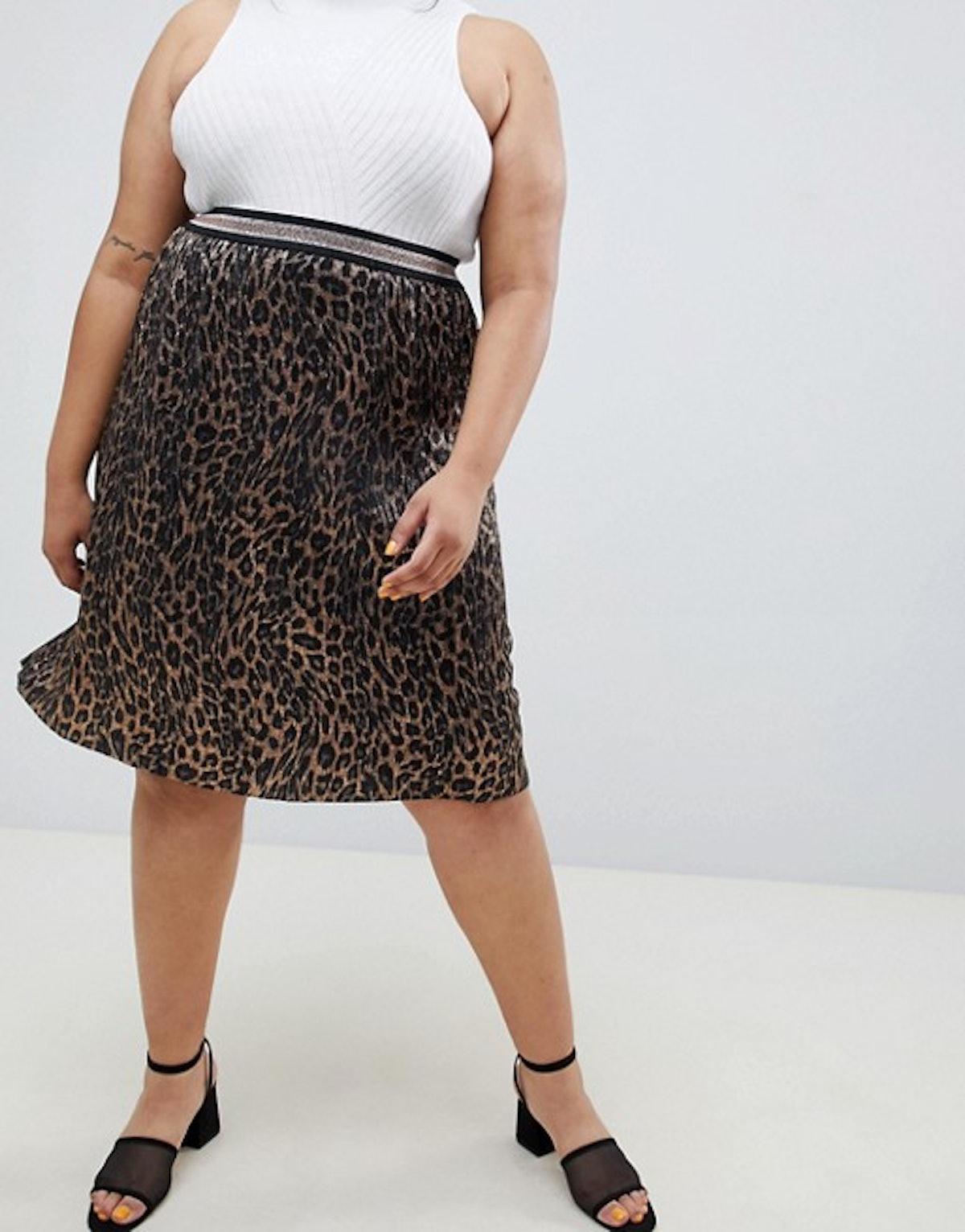 Animal Printed Pleated Skirt