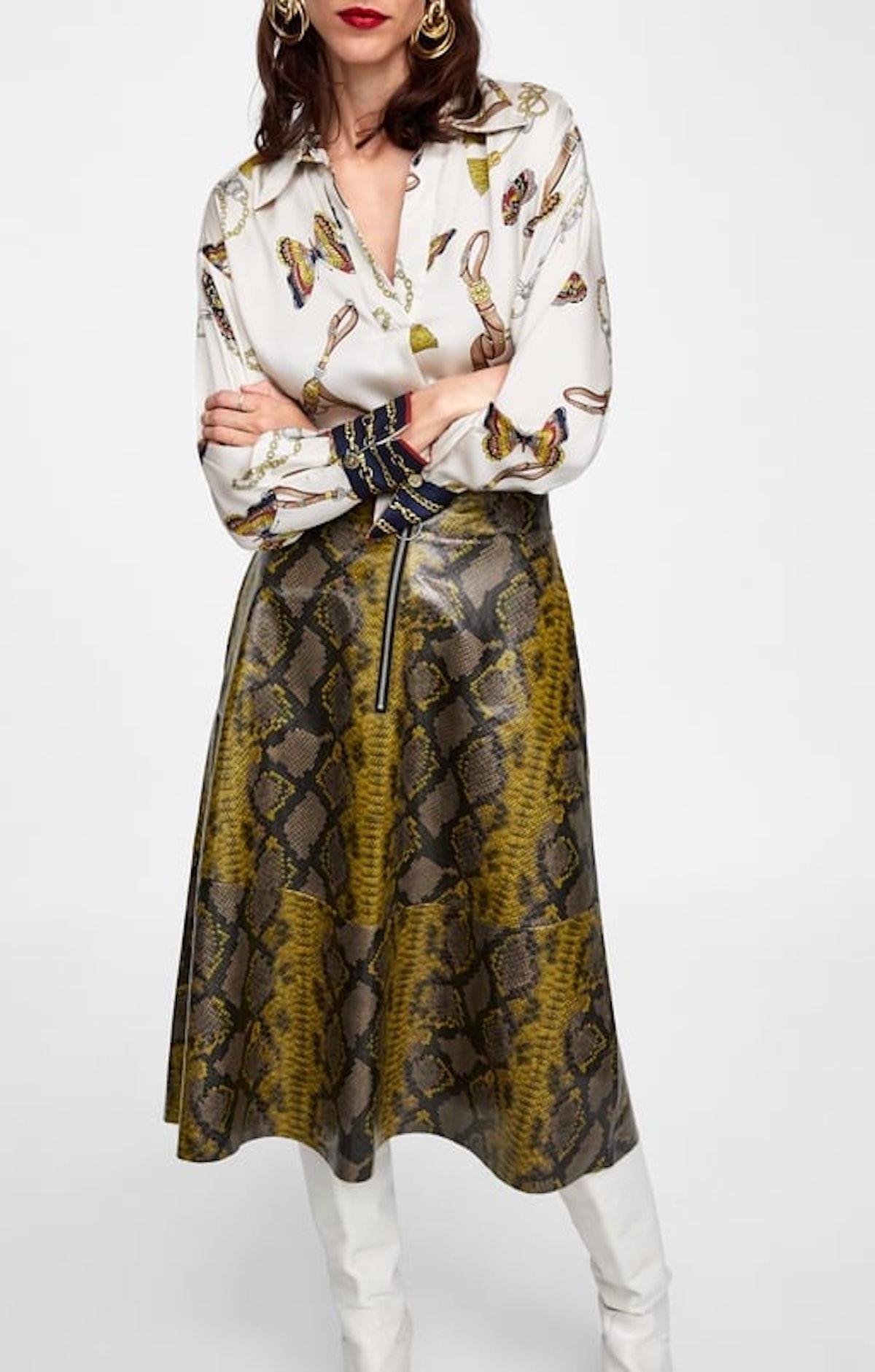 Shiny Snakeskin Print Skirt