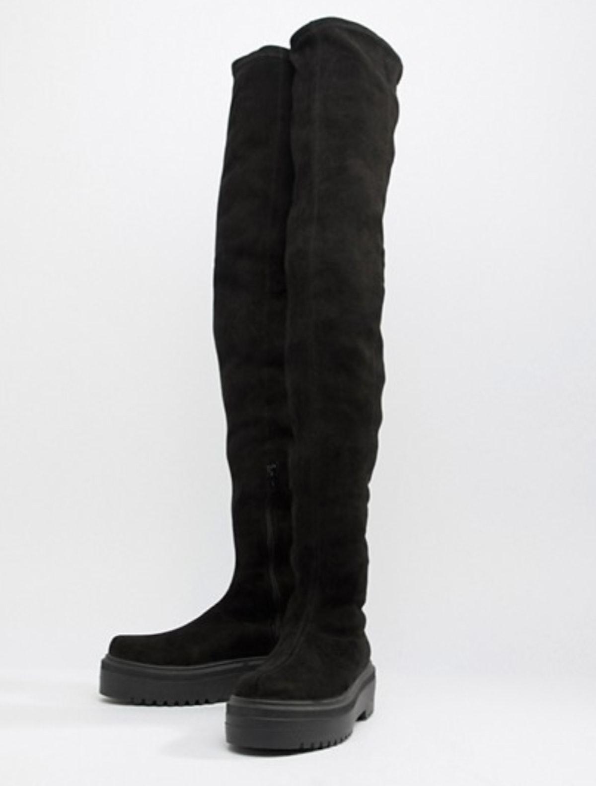 ASOS DESIGN Kami Flat Chunky Over The Knee Boots