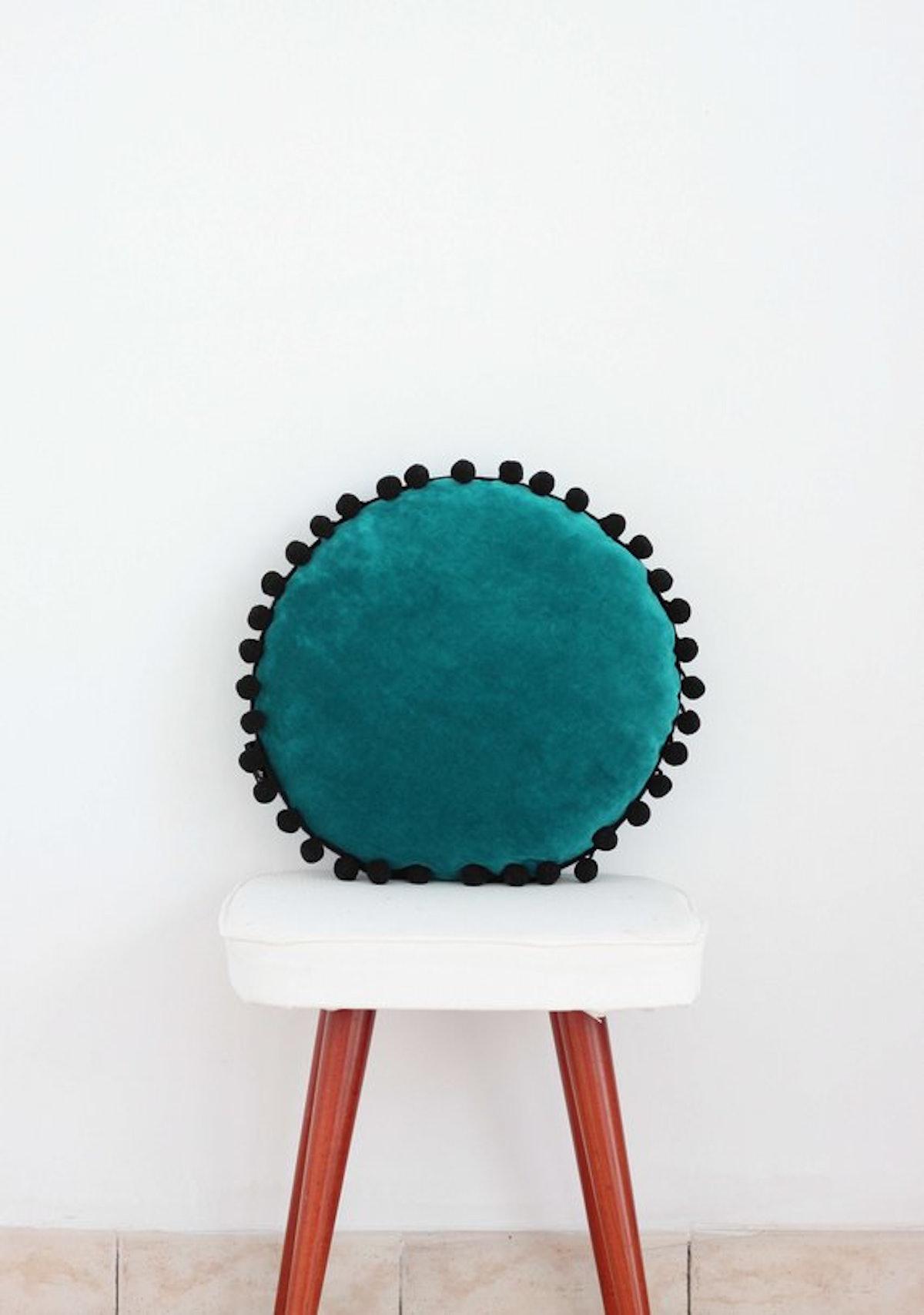 Velvet Turquoise Round Soft Pillow
