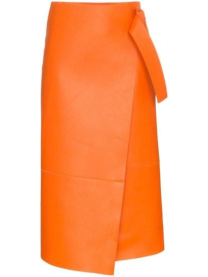 Midi Wrap Leather Skirt