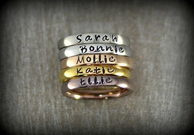 Personalized Stackable Name Rings