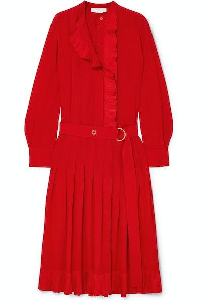 Chloé Ruffled Silk Crepe De Chine Midi Dress