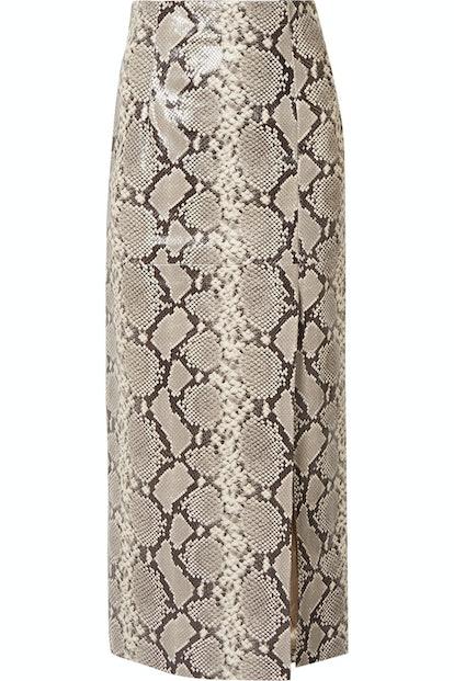 Snake-Effect Leather Midi Skirt