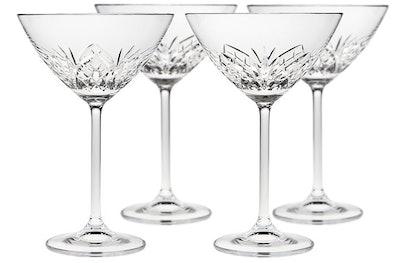Godinger S/4 Dublin Reserve Martini Glasses, Clear