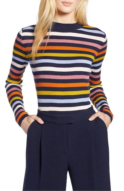 Halogen® x Atlantic-Pacific Shimmer Stripe Sweater