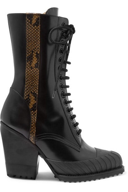 Chloé Rylee Snake-Effect Leather-Trimmed Glossed-Leather Ankle Boots