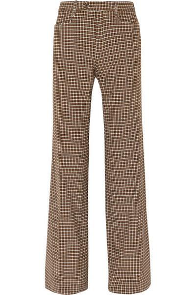 Chloé Checked Wool-Blend Wide-Leg Pants