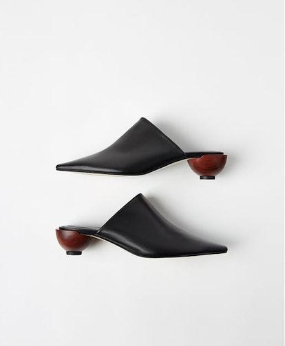 Round-Heeled Leather Mules