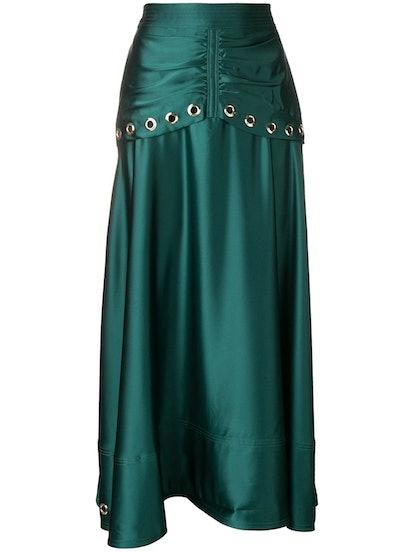 Satin Eyelet Midi Skirt