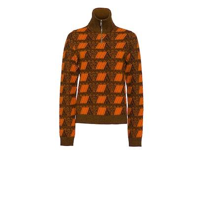 Zippered Intarsia Sweater