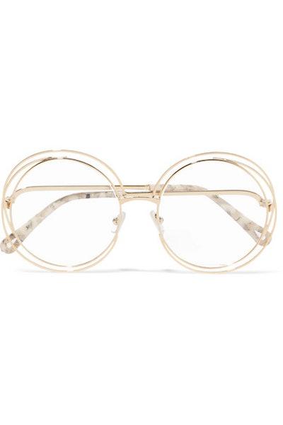 Chloé Carlina Round-Frame Gold-Tone Optical Glasses