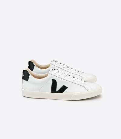 Esplar Leather White Trainers in Black