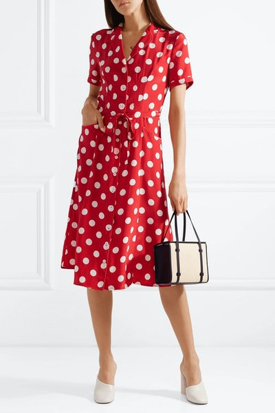 Maria Polka-Dot Silk Crepe De Chine Dress