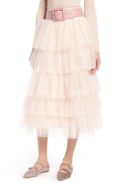 Halogen® x Atlantic-Pacific Tiered Tulle Midi Skirt