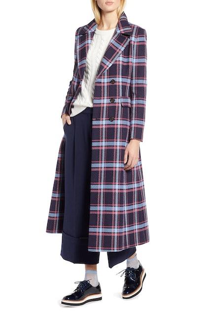 Halogen® x Atlantic-Pacific Long Plaid Coat
