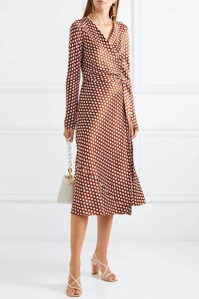 Tilly Polka-Dot Silk-Satin Wrap Dress