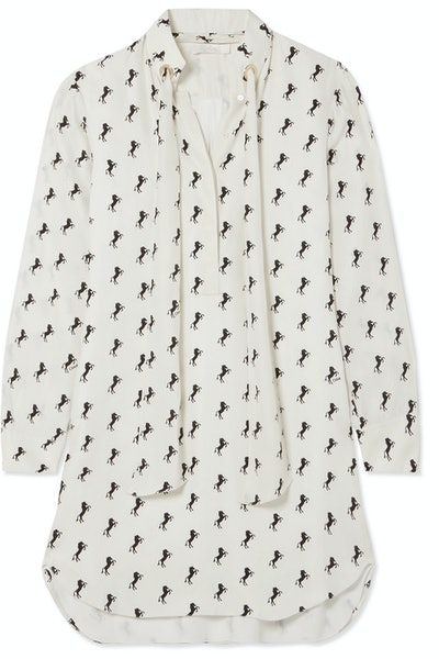 Chloé Printed Silk-Crepe Shirt Dress