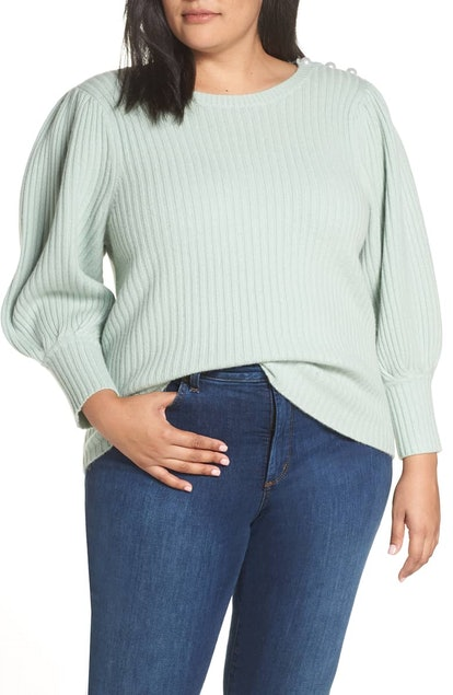 Halogen® x Atlantic-Pacific Balloon Sleeve Wool & Cashmere Sweater