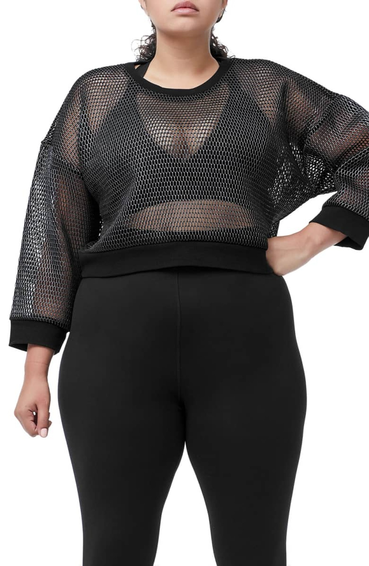 Branded Mesh Pullover Sweatshirt