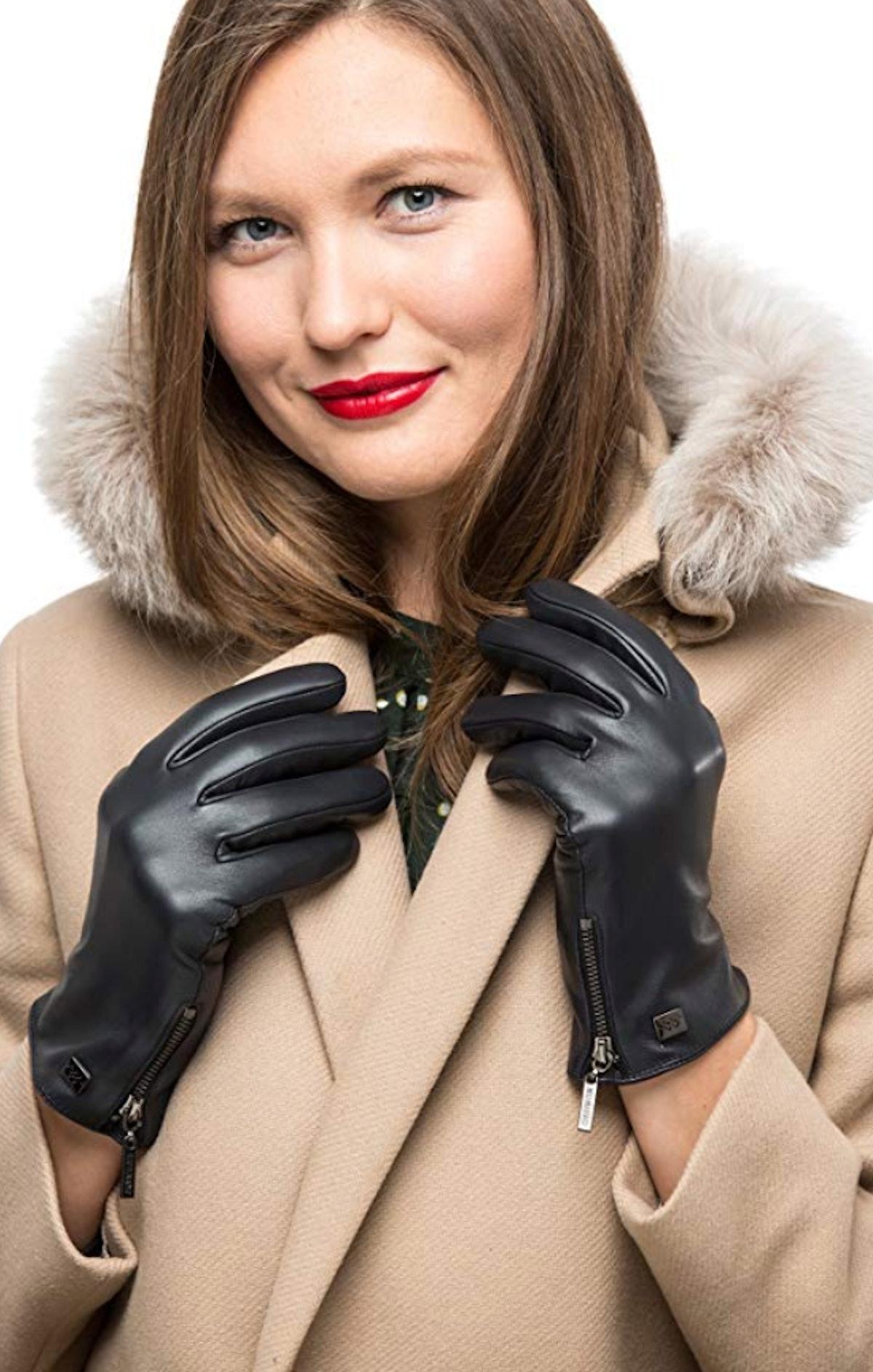 Mio Marino Nappa Leather Zipper Gloves