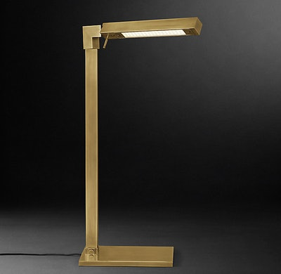 Cannele Task Floor Lamp in Lacquered Burnished Brass