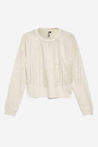 Fringe Crystal Sweatshirt