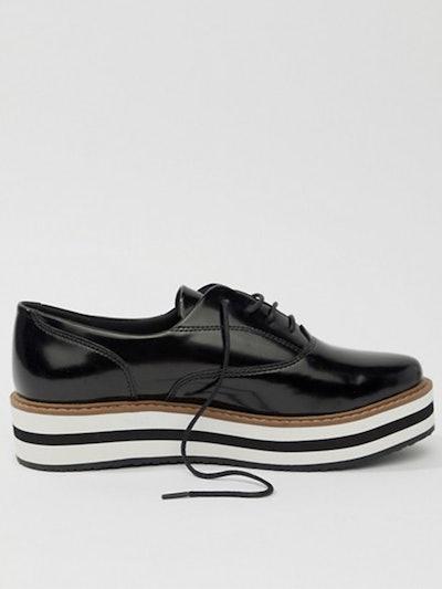 Studded Platform Lace Up Shoes In Black