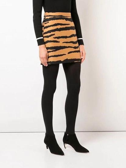 Tiger Jacquard Mini Skirt
