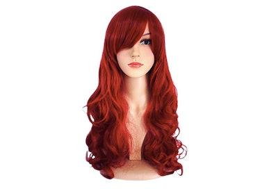 Big Wavy Dark Wine Red Hair