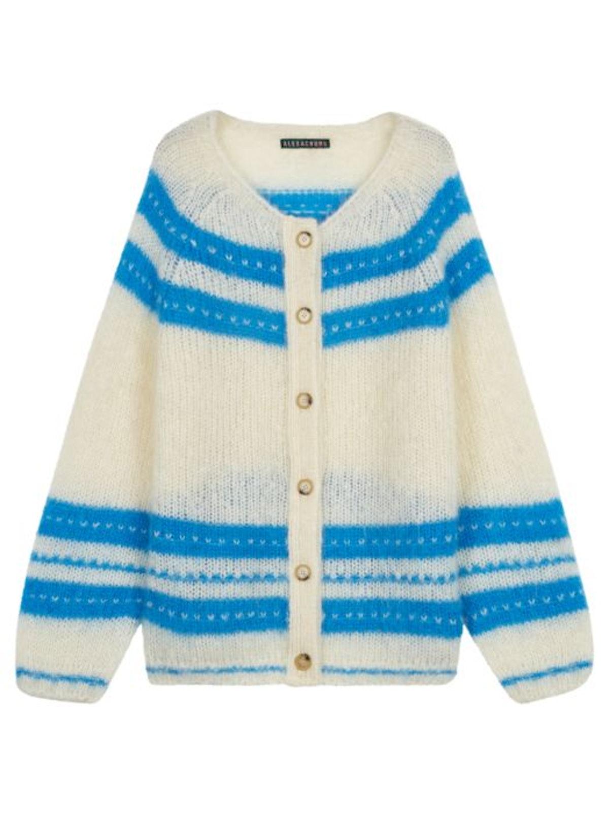 White & Blue Striped Cardigan