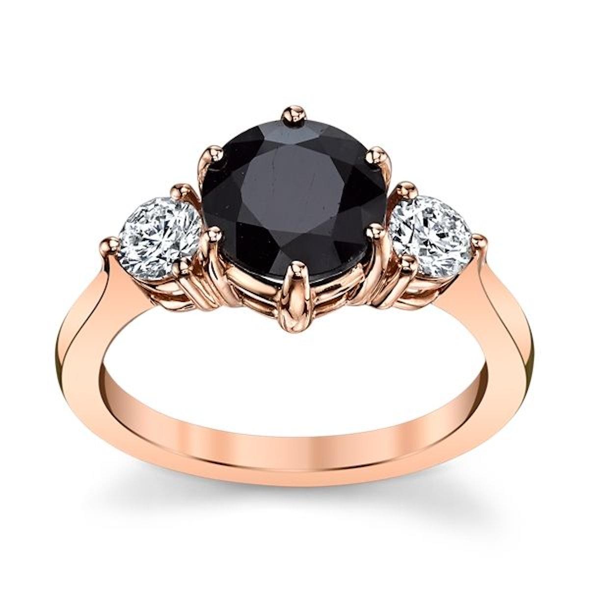 Blossom Bridal 14K Rose Gold Blue Sapphire Diamond Engagement Ring