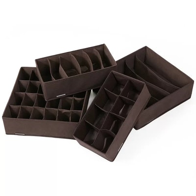 4 Piece Foldable Box Drawer Divider Underbed Storage Set