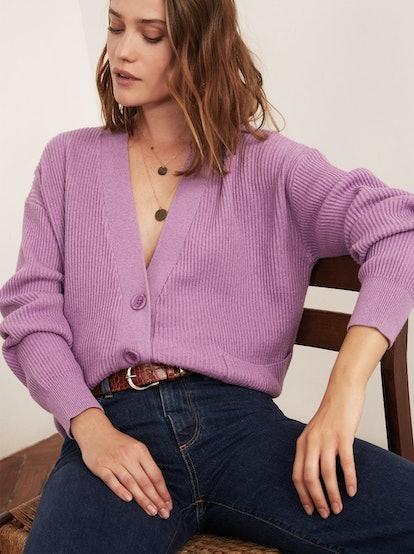 Sana Purple V-Neck Sweater