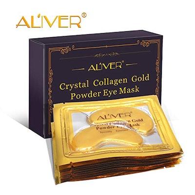 ALIVER Crystal 24K Gold Collagen Eye Mask (10 Pack)