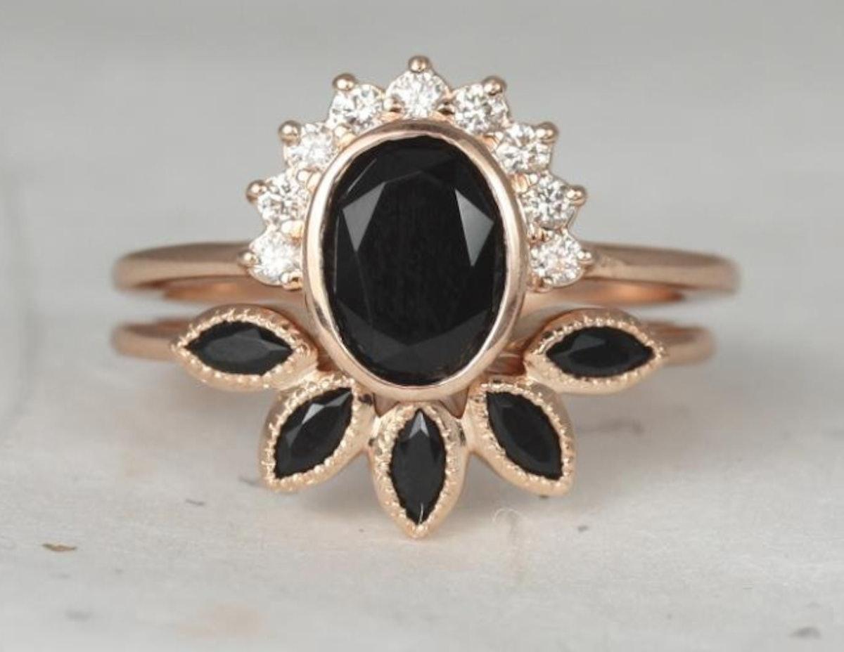 Rose Gold Oval Black Onyx and Diamonds Bezel Crescent Sunrays Wedding Set