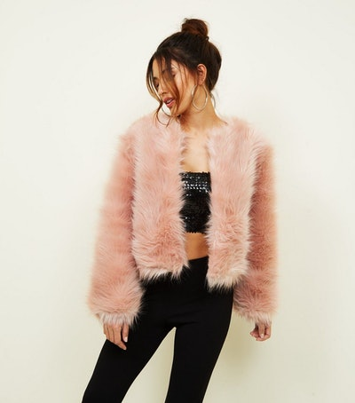 Mid Pink Faux Fur Cropped Collarless Jacket