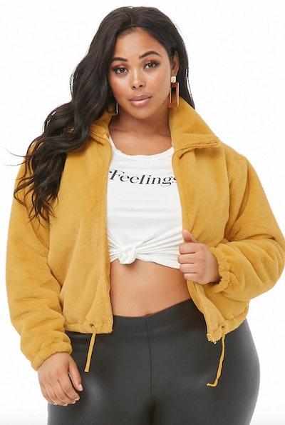 Plus Size Faux Fur Drawstring Jacket