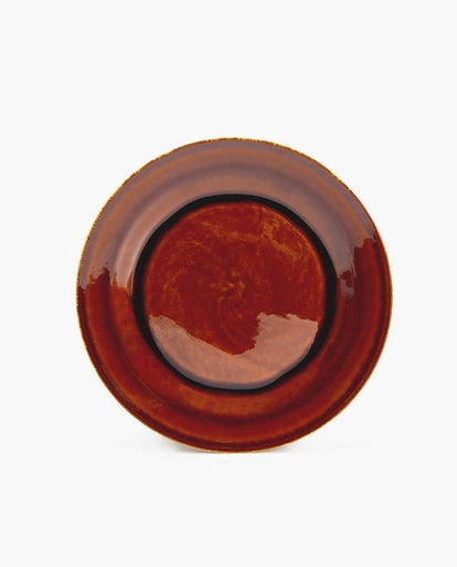 Caramel-Colored Stoneware Dinner Plate